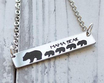 Mama Bear and her Cubs Custom Personalized Engraved Bar Necklace