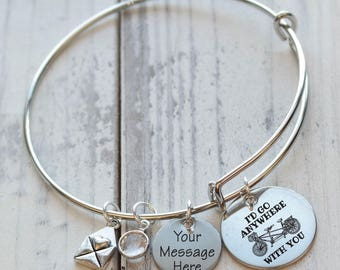 I'd Go Anywhere with You Personalized Adjustable Wire Bangle Bracelet