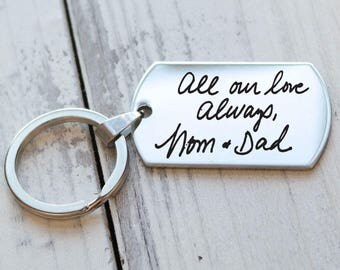 Actual Handwriting Personalized Key Chain - Engraved