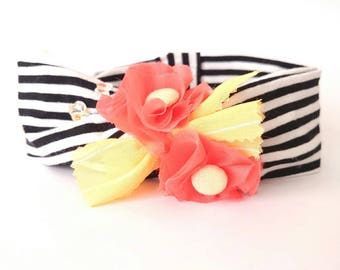 Baby Twist Black and White Headband, Headband with Handmade Coral Flower and Butterfly Strass , Mariners Style, Retro Beach Headwrap