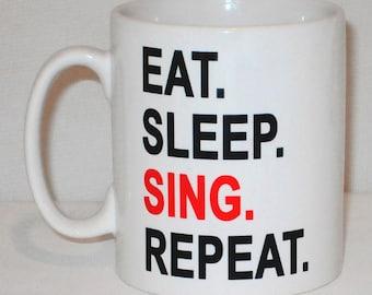 Eat Sleep Sing Repeat Mug Can Be Personalised Great Singer Vocalist Choir Teacher Gift