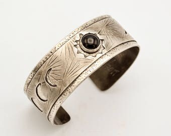 Eclipse Sterling Silver and Onyx Cuff - Total Eclipse