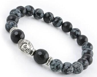 Black Tourmaline Buddha bracelet, EMF Protection bracelet, Buddha bracelet, Lava bracelet, Gift for Him, Gift for Men, Statue Male Bracelet,
