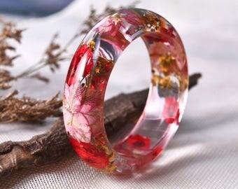 Resin bangle bracelet, Resin Ring, Flower Jewelry, Resin Jewelry, Dried Flowers, Resin Flower Jewelry, Nature Ring, Botanical Jewelry