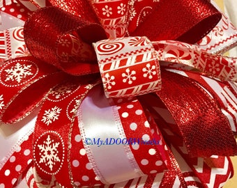 Candy Cane Tree Bow, Christmas Candy Cane Bow, Peppermint Red & White Decor Bow, Candy Cane Wreath Bow, Holiday Gift Bow, Christmas Tree Bow