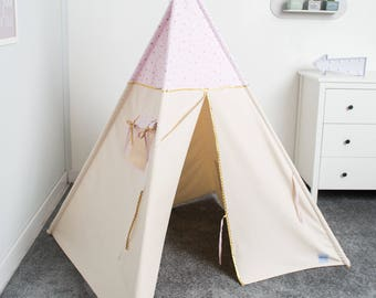 kids teepee play tent, children play tent, tipi, tente indienne, tente de teepee, tents pour enfant, teepee for girl, indian teepee tent
