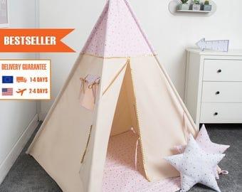 children teepee tent, kids play tent, tipi, teepee tent, set 6 elements indian wigwam PRINCESS