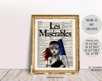 Les Miserables, Book Lover Gift, Bookworm Gift, Literary Gift, Book Cover Art