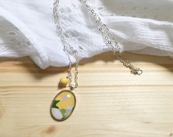 Yellow Flower Cameo Necklace