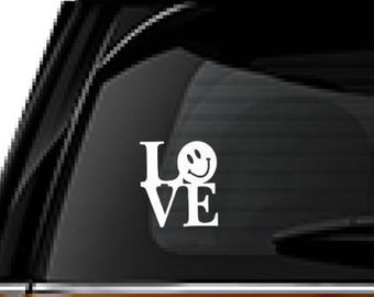 Love with Smiley face decal, FREE SHIPPING, White vinyl decal, home decor, love #183