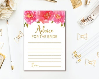 Pink & Gold Advice for the Bride Cards, Floral Bridal Shower Advice Card, Bridal Advice Card, INSTANT DOWNLOAD