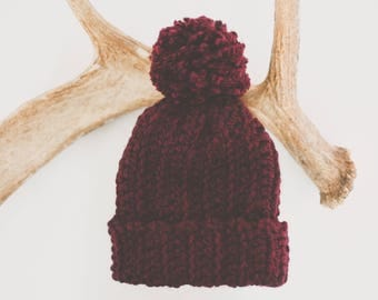 Maroon Hat Pom Pom | Slouch Beanie | Chunky Hat| Crocheted Hat | Red | Wine | Cranberry | Wool Blend | Adult | Handmade | Soft
