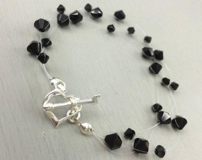 Black Swarovski crystal illusion bracelet  with Sterling Silver heart toggle clasp