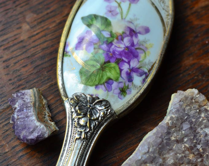 VINTAGE SCRYING OBSIDIAN mirror for divination, scrying mirror, black mirror, orgonite, amethyst, clear quartz crystal, wiccan altar