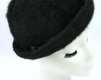 Vintage Fowler Black Felted Wool Bowler Style Fuzzy Hat with Satin Hat Band and Box - Small or Medium