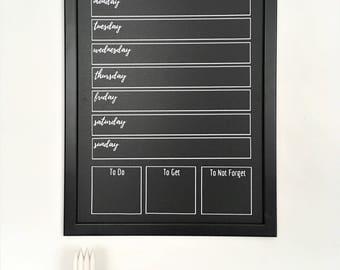 "Chalkboard Weekly Planner   Activity Planner   Chalk-Marker Compatible   Chalkboard Planner   Weekly Meal Planner   13"" Wide x 17"" Tall"
