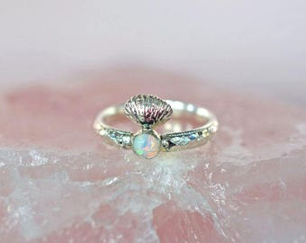 Seashell ring, opal ring, statement ring, sterling silver ring, stacking ring, shell ring, mermaid ring, ocean ring, sea ring, beach ring