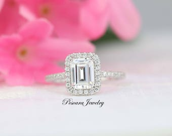 1.88 ct tw Emerald Cut Engagement Ring, Emerald Halo Ring, Diamond Stimulant,Promise Ring, Bridal Ring, Wedding Ring, Sterling Silver