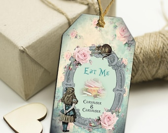 10 Alice in Wonderland Eat Me Drink Me Floral Gift Tags Toppers,Favors,Wedding.Tea Parties,Baby Shower,Bridal Shower,Birthday,Gifts
