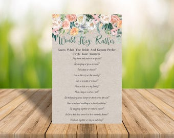would they rather game printable games instant download wedding shower games bridal shower game - br65