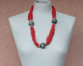 Berber Coral Red and and Metallic Pearl Necklace - Ethnic Oriental Necklace