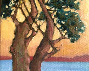 Original Oil Painting, Small Oil Painting, Small Canvas Art, Small Landscape Painting, Small Tree Painting