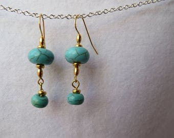 Turquoise and gold dangles