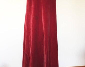 1930's Red Velvet Bias Cut Long Skirt- Dress -Vintage-costume