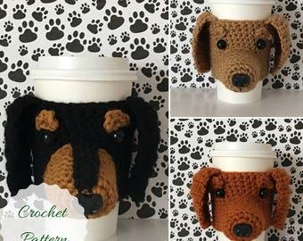 Dachshund Pattern, Crochet Dachshund, Amigurumi Dog, Mug Cozy Pattern, Crochet Dog Pattern, Dog Crochet Pattern, Crochet Pattern Dog