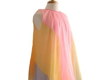 Vintage Babydoll Nightgown 1950s Rainbow Striped Pattern Yellow Pink and Blue Knee Length Nylon Lingerie Sleepwear Size Medium