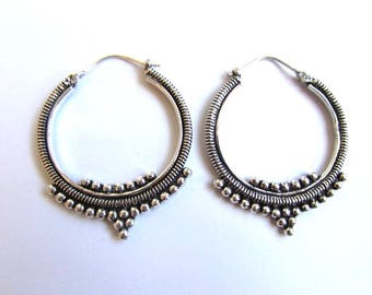 White Brass Afghani Dots Hoop  Earrings Tribal Earrings Mandala Jewellery Boho Festival Jewellery Free UK Delivery Gift Boxed