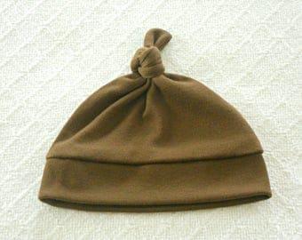 Brown Top Knot Jersey Knit Baby Hat Boy Girl, Baby Beanie Hat, Infant Hat, Newborn Hat, Beanie Hat Baby, Baby Shower Gift