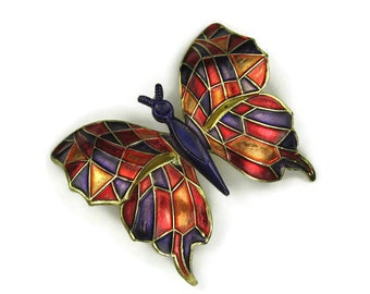 Large Enamel Butterfly Brooch