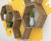 Honey Bees and Hexagon Shelves Wall Shelf Decal Set **New Product**