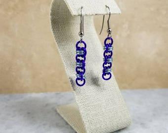 Chainmaille Barrels Purple & Sky Blue Earrings