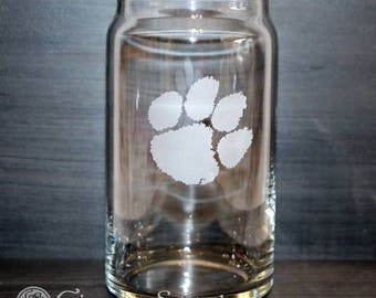 Clemson Tiger Paw Etched Beer Can Glass - Officially Licensed