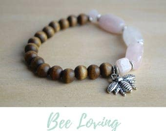 Self Love Bracelet / rose quartz bracelet, treat yo self, nature lover gift, love stone bracelet, bee silver bracelet, heart chakra yoga