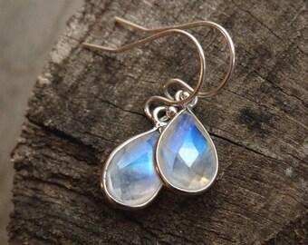 Moonstone earrings, sterling silver, rainbow moonstone water droplets, blue stone, natural stone jewelry, gemstone earrings, June birthstone