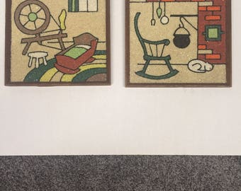 Vintage Mid Century Gravel Art Wall Hangings, Pair of two. Retro. Gravel. Sand