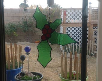 Holly Stained Glass Sun Catcher