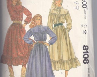 McCall's 8108 Sewing Pattern from 1982  Misses Dress: Pullover Dress.  Bust 32 1/2.    Western style