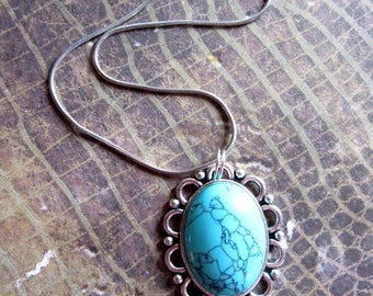 Silver Turquoise Necklace, Southwestern Jewelry, Turquoise Jewelry, Gemstone Necklace, Birthstone Necklace, Semiprecious Stone Necklace