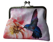 Pink Chrysanthemum Flower and Blue Hummingbird Satin Silver Tone Clasp Frame Clasp Clutch Purse Evening Bag