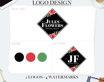 Branding kit, premade branding package, elegant logo, feminine logo, square logo, premade logo, business logo design, photography logos