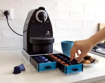 Nespresso Coffee Pod Drawer, Blue Coffee Capsules Holder, Coffee Organizer, Capsules Storage Unit, kitchen Decor Design, Counter Top Stand