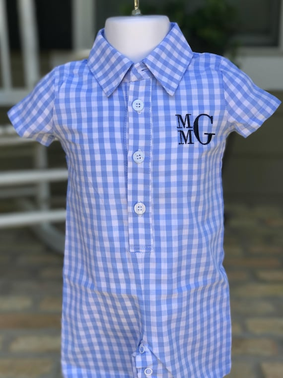 Boys Monogrammed Gingham Shortall