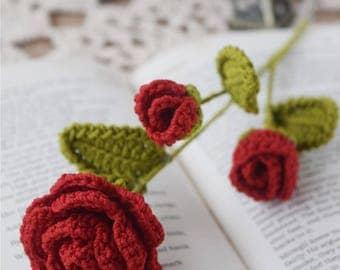 Crochet Flower Pattern, Scarlet Rose Wedding Bouquets, Floral Arrangement, Party Decor, Romantic Gift, Bridal Bouquet