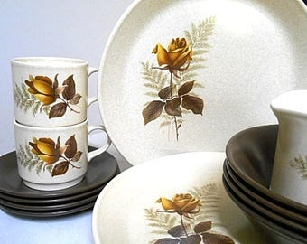Retro Vintage Johnson of Australia Dinner Set  - Retro 70's Gold Rose
