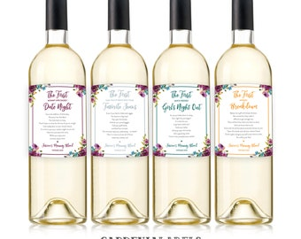 New Mom Gift Wine Labels (Set of 4), Mommy's First Milestone Wine Basket, Mommy Meltdown Baby Shower Gift, Baby Milestones Mother's Day Gift