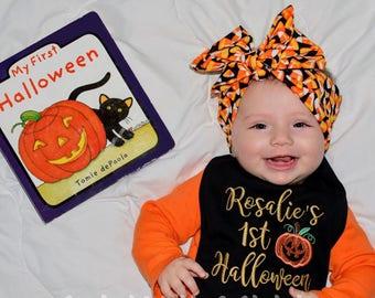 1st Halloween Bib - First Halloween - Pumpkin